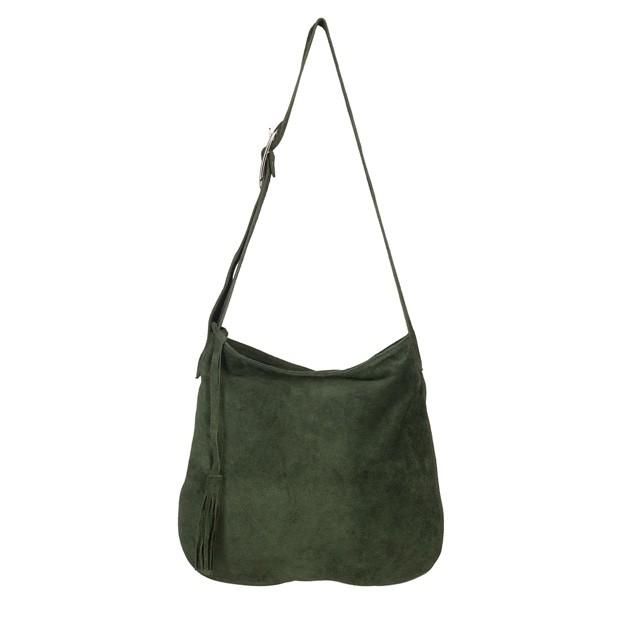 Włoska zamszowa torebka worek zielona (5371)