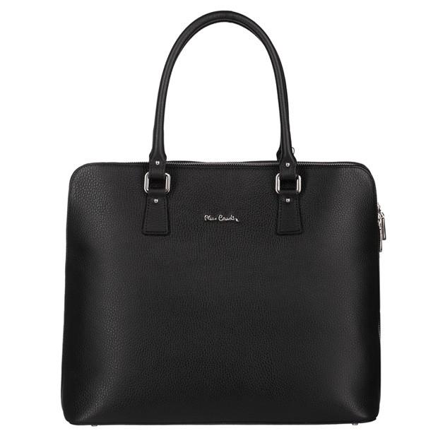 Pierre Cardin - Włoska skórzana elegancka duża aktówka A4 czarna (5373)
