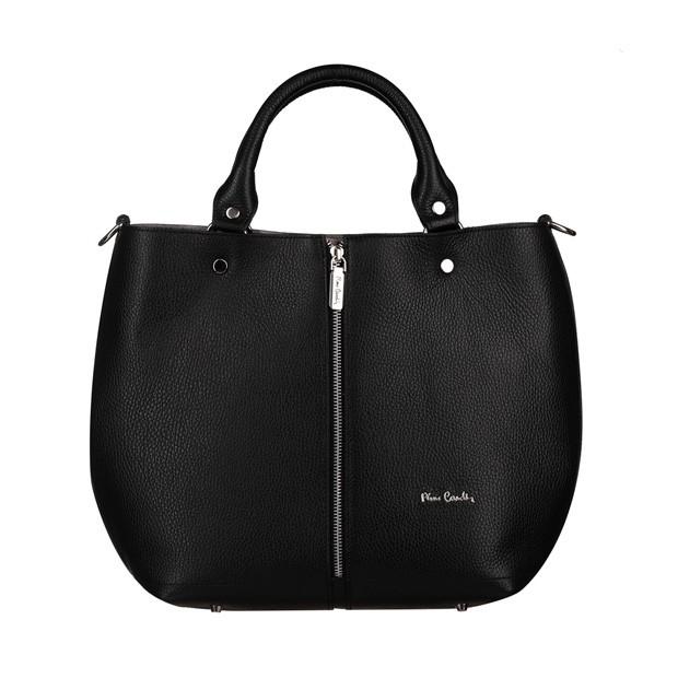 Pierre Cardin - skórzana torebka shopper bag czarna (5374)