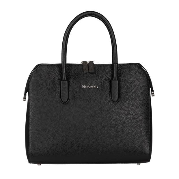 Pierre Cardin - skórzana torebka kuferek czarny (TS-5375-01)