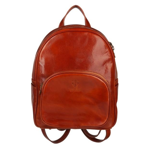 Włoski skórzany plecak jasny brąz (5378)