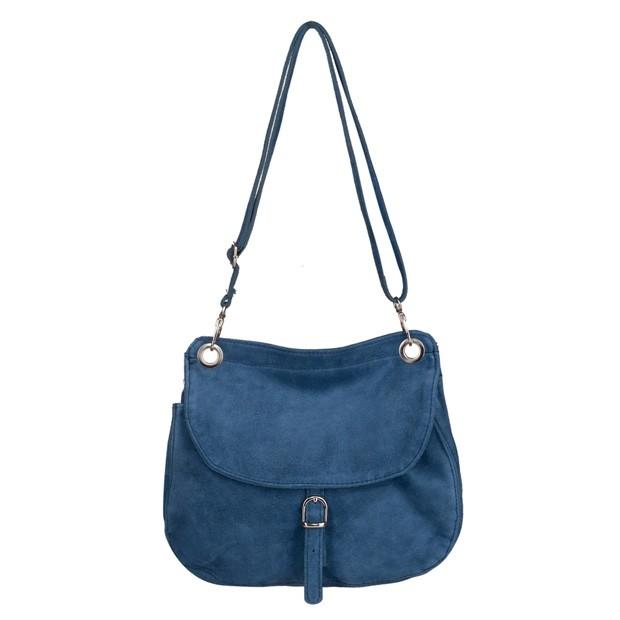 Włoska torebka listonoszka zamsz niebieska (5385)