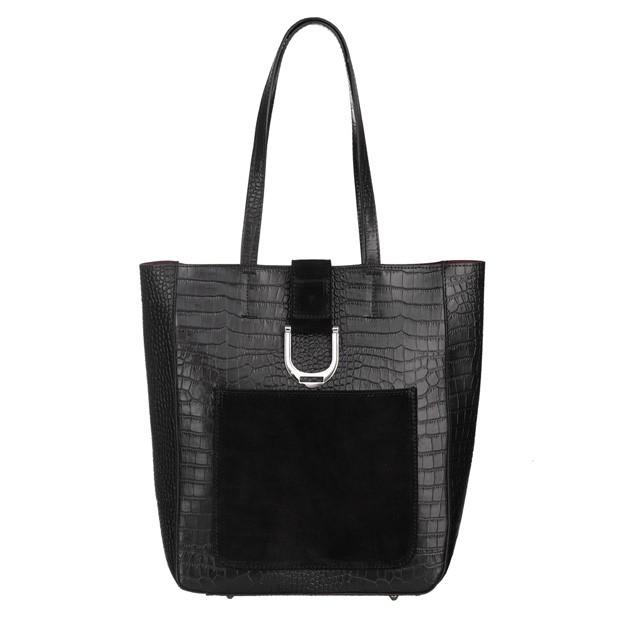 Włoska duża torebka shopper bag A4 skóra krokodyl czarna (5388)