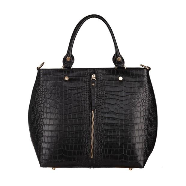 Włoska skórzana torebka shopper bag złote okucia skóra krokodyl czarna (5389)