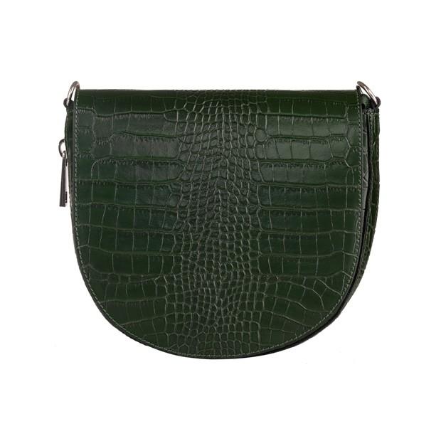 Włoska listonoszka skóra krokodyl zielona (5392)