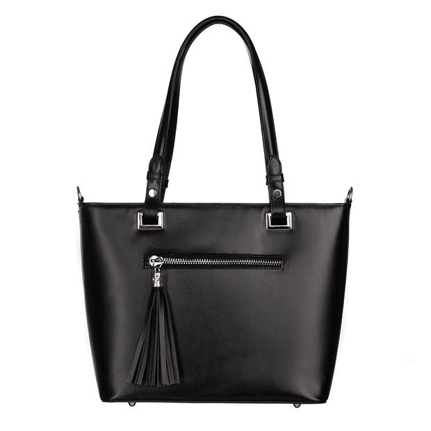 Włoska klasyczna torebka gładka skóra czarna (5350)