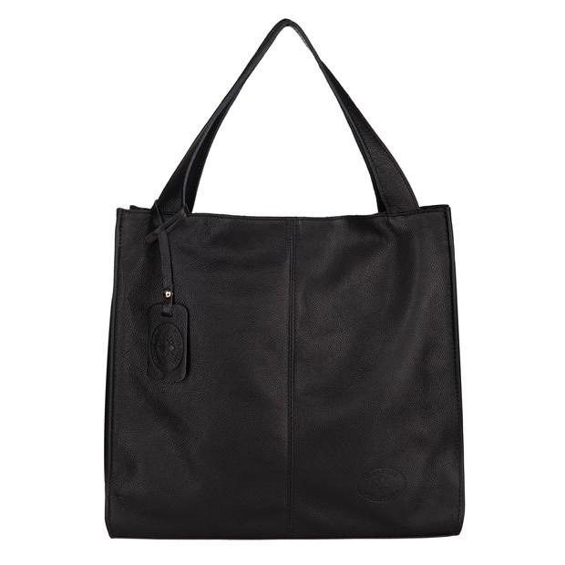Vera Pelle - Włoska skórzana torebka A4 worek czarna (5415)