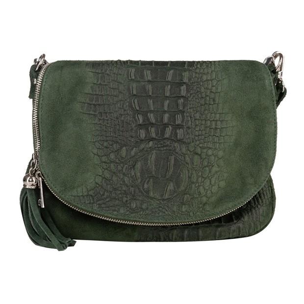 Włoska listonoszka z frędzlami zamsz krokodyl zielona (5417)