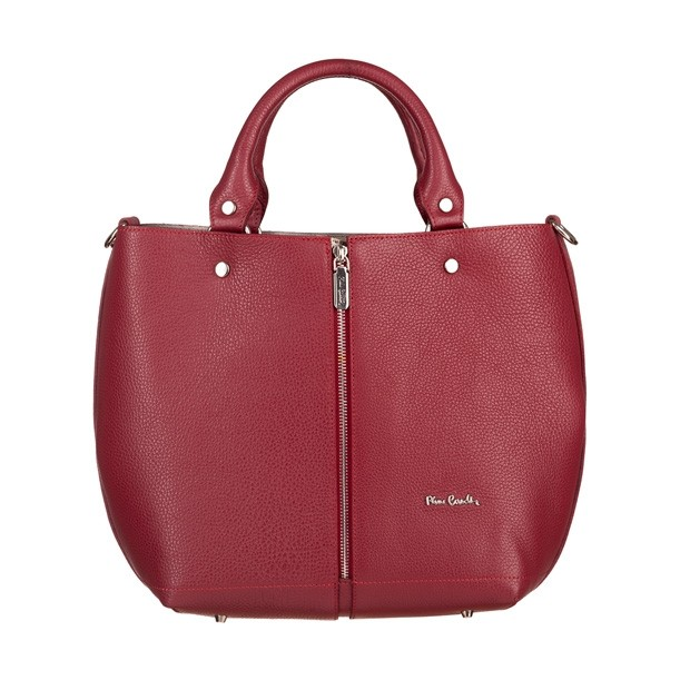 Pierre Cardin - skórzana torebka shopper bag czerwona (5421)