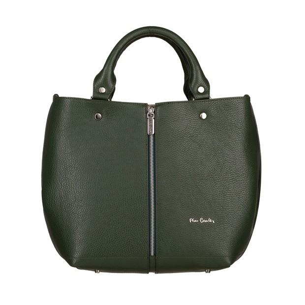 Pierre Cardin - skórzana torebka shopper bag zielona (5422)