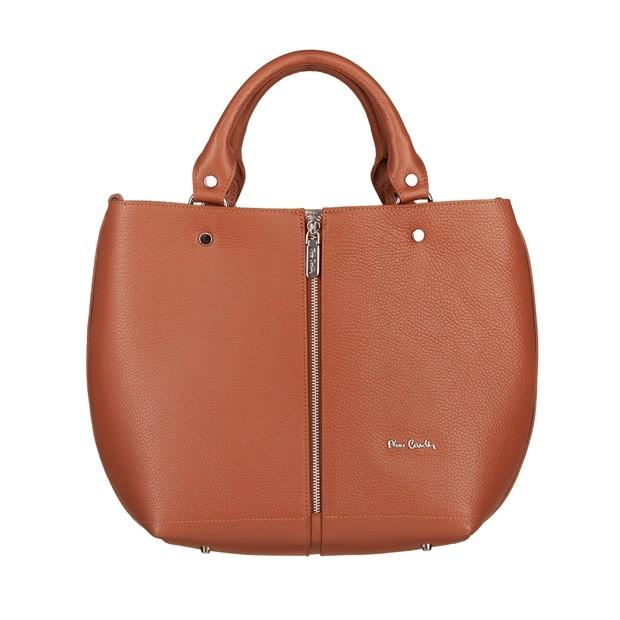 Pierre Cardin - skórzana torebka shopper bag camel (5423)
