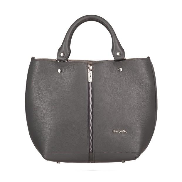 Pierre Cardin - skórzana torebka shopper bag grafitowa (5424)