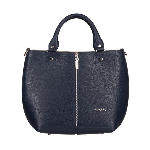 Pierre Cardin - skórzana torebka shopper bag granatowa (5425)