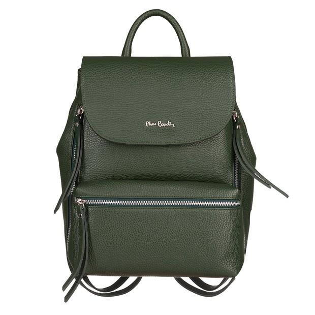 Pierre Cardin - skórzany plecak srebrne zamki zielony (5429)