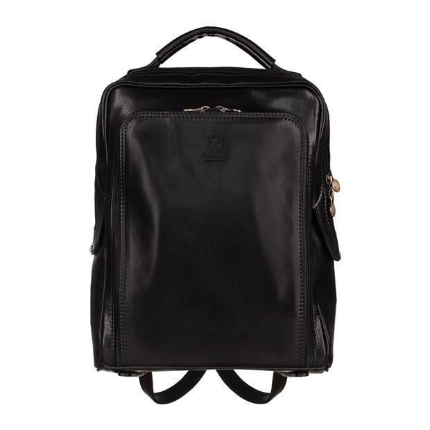 Vera Pelle - Włoski duży skórzany plecak A4 czarny (5430)