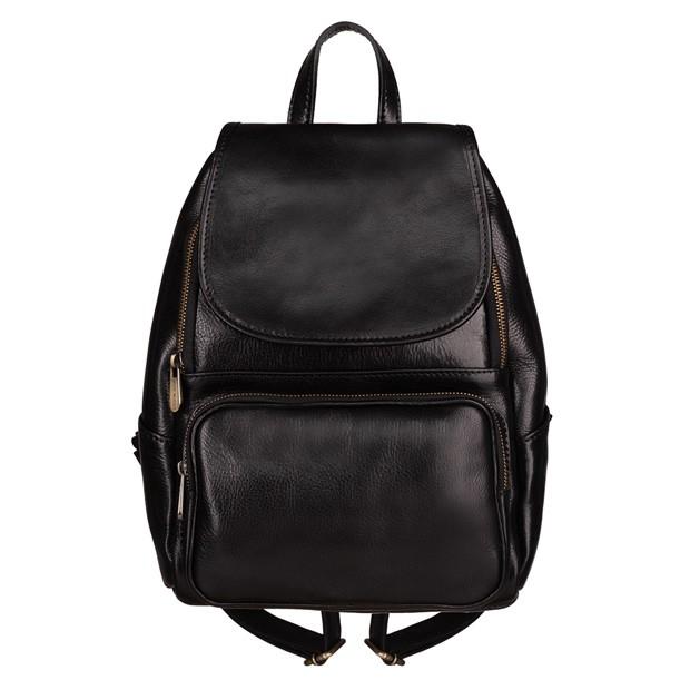 Włoski skórzany plecak z klapką czarny (5431)
