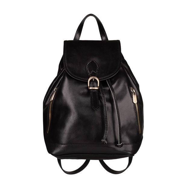 Włoski plecak skórzany z kieszeniami złote okucia czarny (5432)