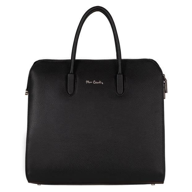 Pierre Cardin - Włoska skórzana elegancka aktówka A4 czarna (5440)