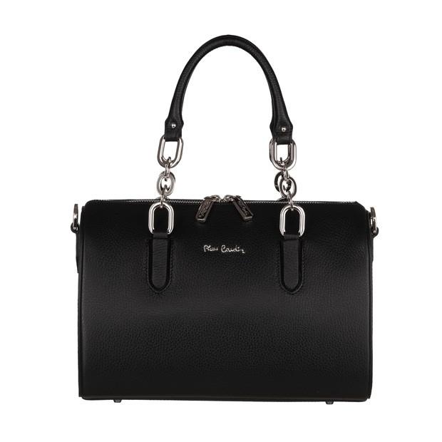 Pierre Cardin - skórzana torebka kuferek czarny (5442)