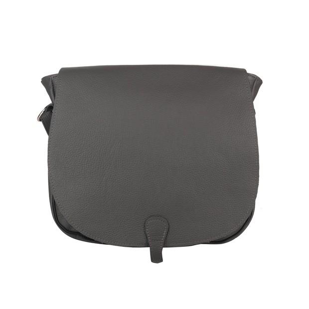 Duża skórzana torebka listonoszka z klapką grafitowa (5446)