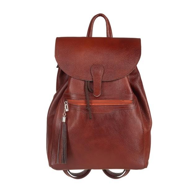 Skórzany plecak z frędzlami brązowy (5448)
