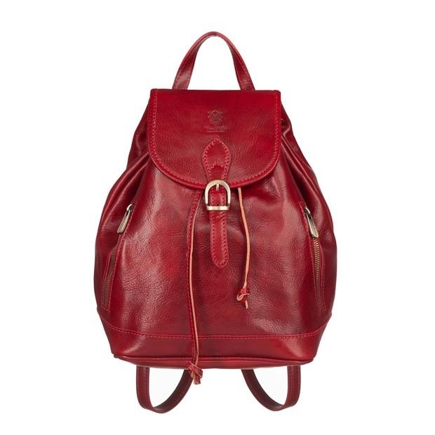 Włoski plecak skórzany z kieszeniami złote okucia czerwony (5457)