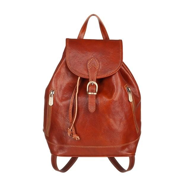 Włoski plecak skórzany z kieszeniami złote okucia camel (5458)