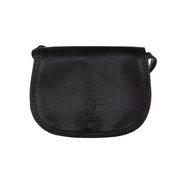 Vera Pelle - Włoska mała trzykomorowa skórzana torebka listonoszka czarna (TS-5470-01)