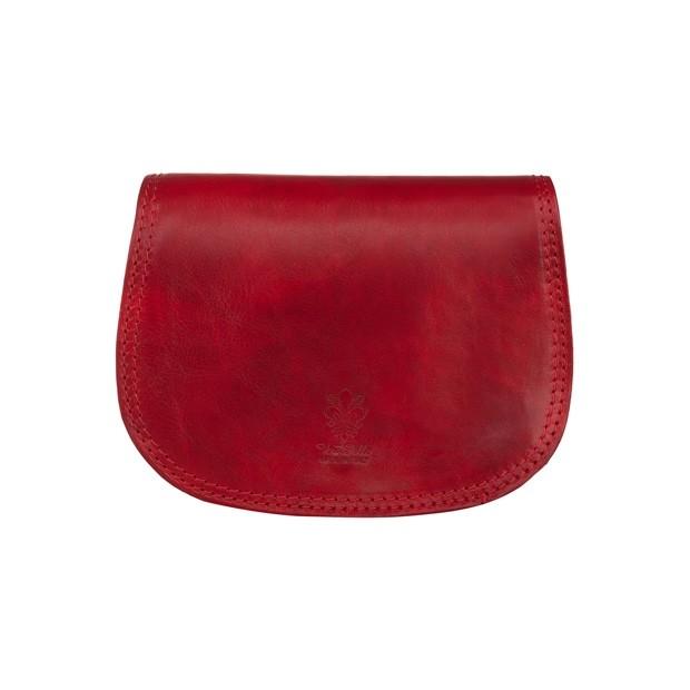 Vera Pelle - Włoska mała trzykomorowa skórzana torebka listonoszka czerwona (5473)
