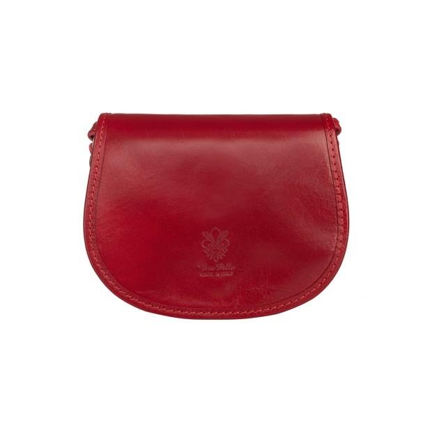 Vera Pelle - Włoska mała dwukomorowa skórzana torebka listonoszka czerwona (TS-5476-06)