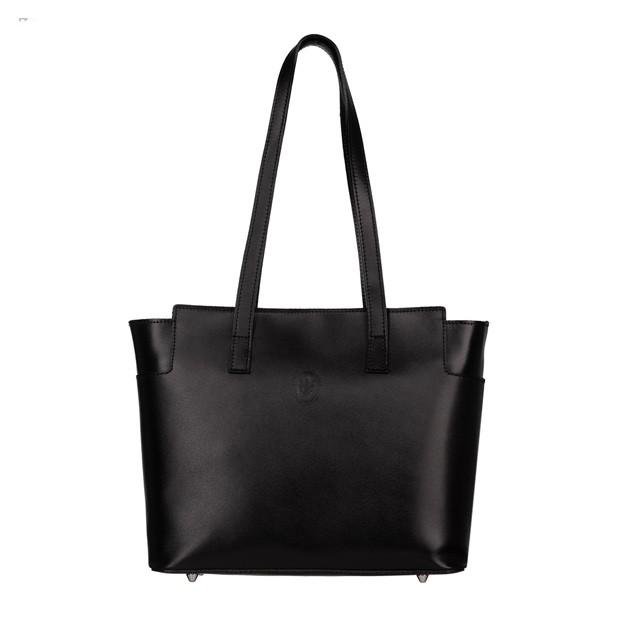 Włoska skórzana klasyczna torebka czarna (5486)