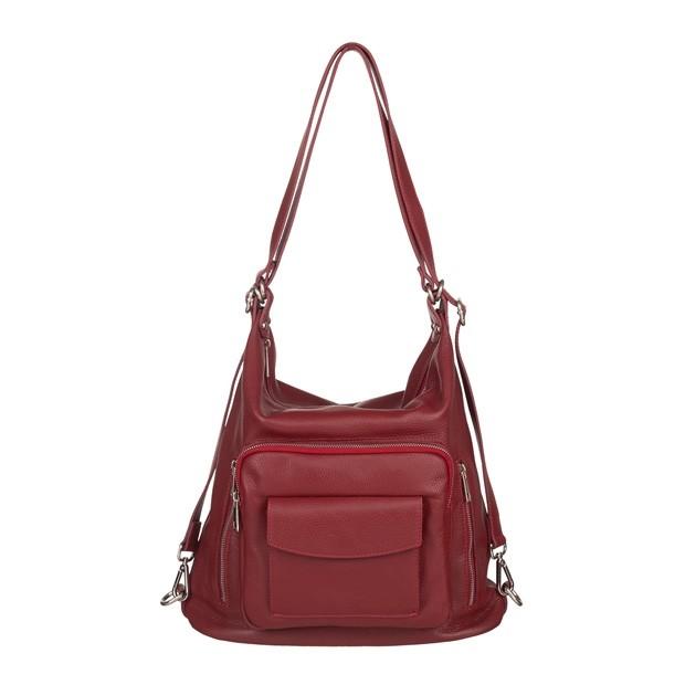 Włoska skórzana torebka - plecak 2w1 czerwona (5491)