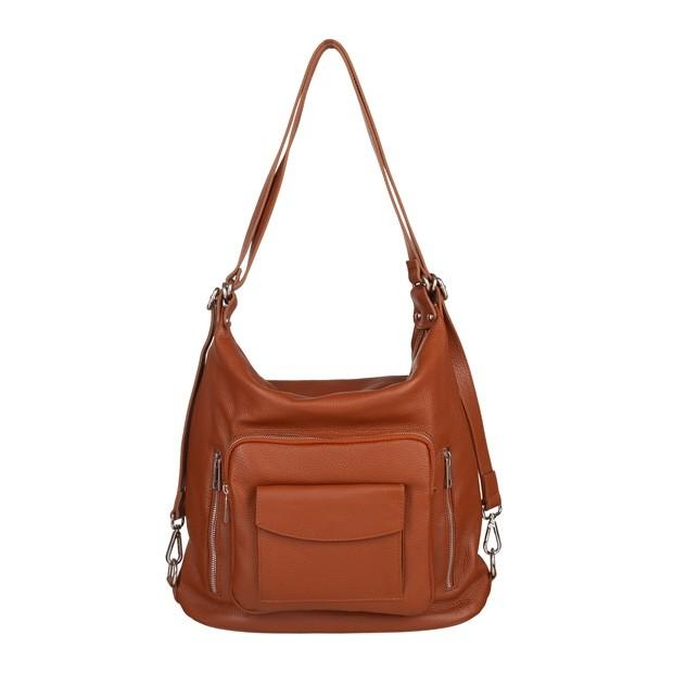 Włoska skórzana torebka - plecak 2w1 camel (5495)