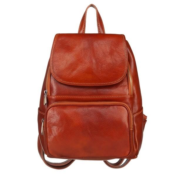 Włoski skórzany plecak jasny brąz (5502)