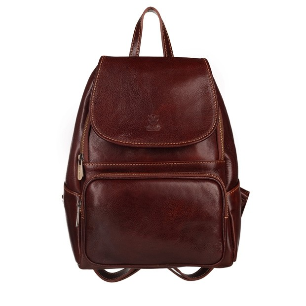 Włoski skórzany plecak brązowy (5503)