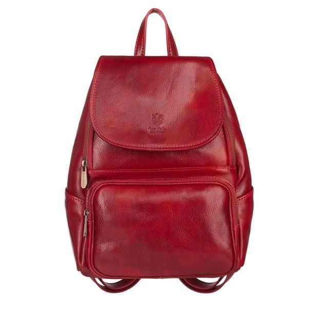 Włoski skórzany plecak czerwony (5504)
