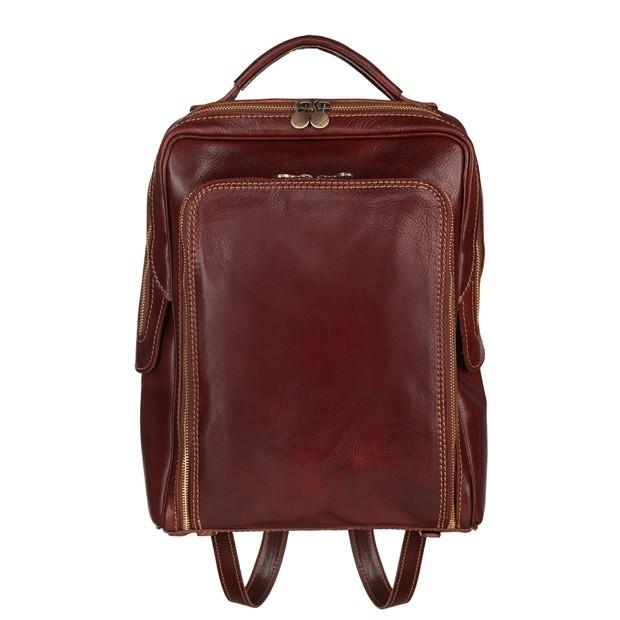 Vera Pelle - Włoski skórzany plecak A4 ciemny brąz (5514)