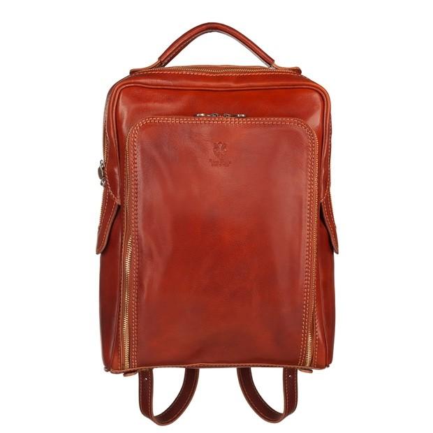 Vera Pelle - Włoski skórzany plecak A4 jasny brąz (5515)