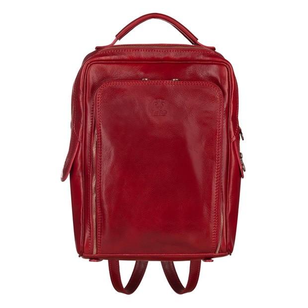 Vera Pelle - Włoski duży skórzany plecak A4 czerwony (5518)