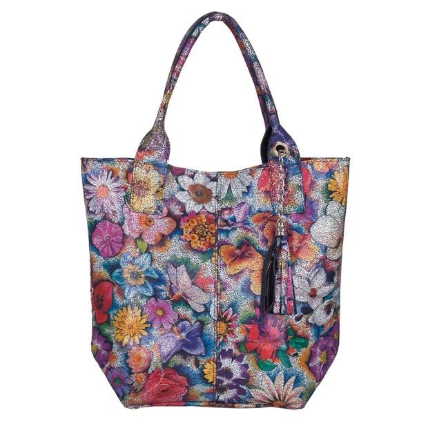 Włoska torebka worek A4 z frędzlami zamsz kwiaty (5531)