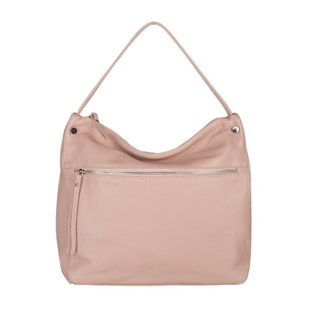 Włoska skórzana torebka worek różowa (TS-5566-10)