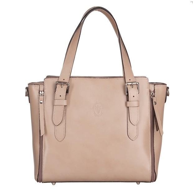 Vera Pelle - Włoska skórzana torebka kuferek beżowa (5570)