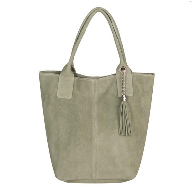 Włoska torebka worek A4 z frędzlami zamsz miętowa (5574)
