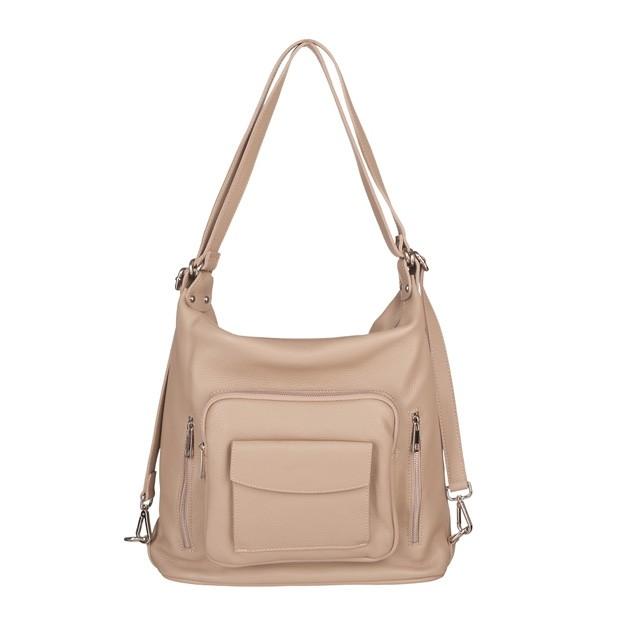Włoska skórzana torebka - plecak 2w1 beżowa (5580)