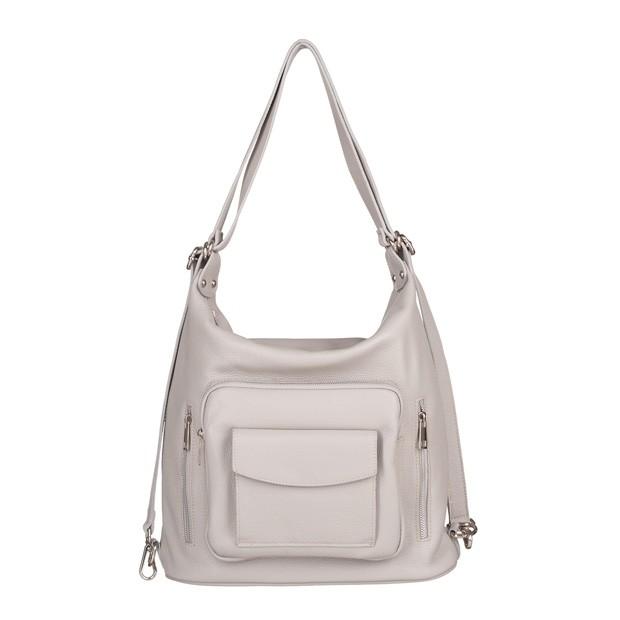 Włoska skórzana torebka - plecak 2w1 szara (5581)