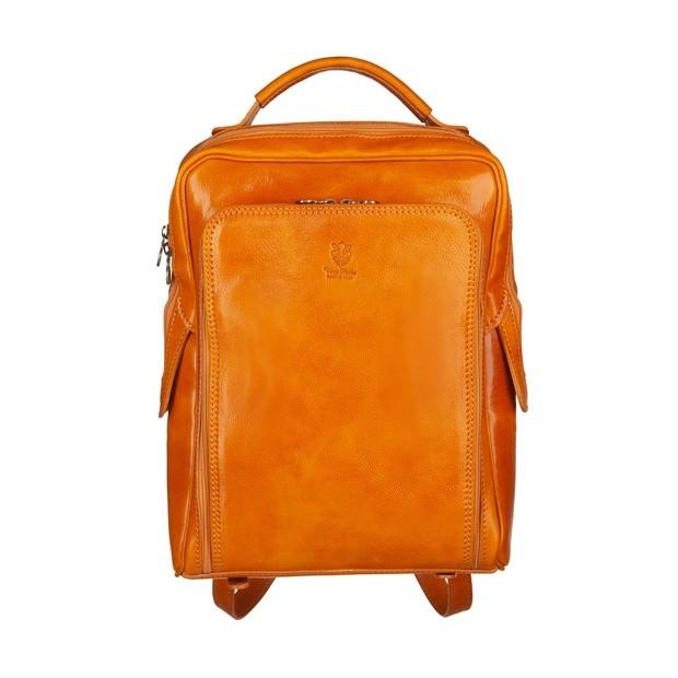 Vera Pelle - Włoski skórzany plecak żółty (5582)