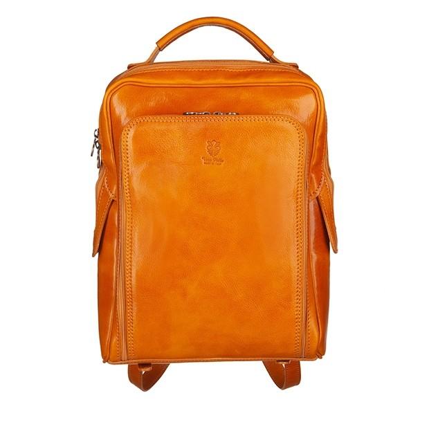 Vera Pelle - Włoski duży skórzany plecak A4 żółty (5582)