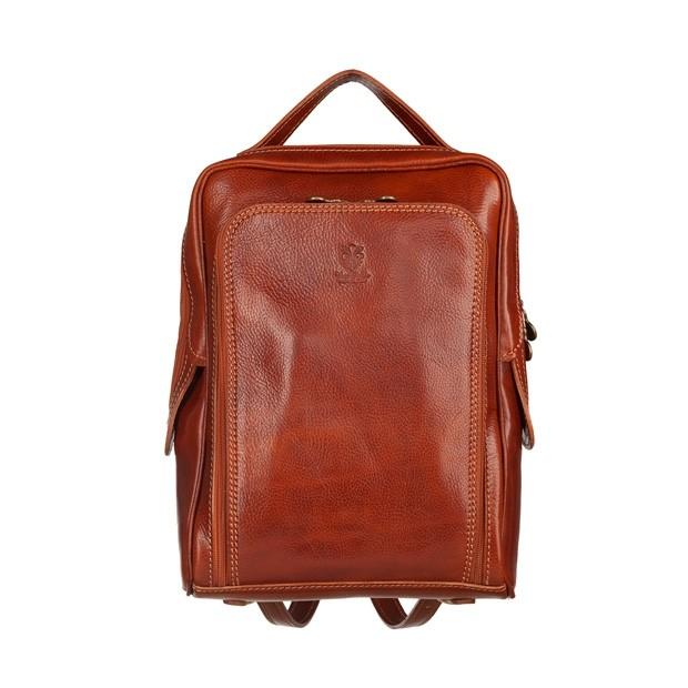 Vera Pelle - Włoski skórzany plecak brązowy (5584)