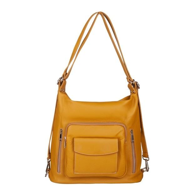 Włoska skórzana torebka - plecak 2w1 żółta (5587)