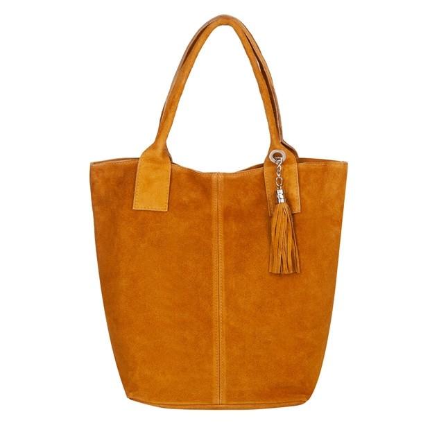 Włoska torebka worek A4 z frędzlami zamsz żółta (5594)